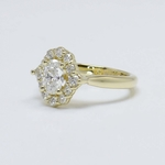 0.60 Carat Oval Custom Halo Diamond Engagement Ring - small angle 2