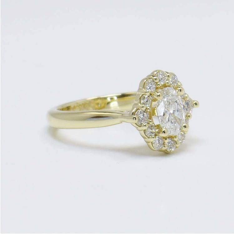 0.60 Carat Oval Custom Halo Diamond Engagement Ring angle 3