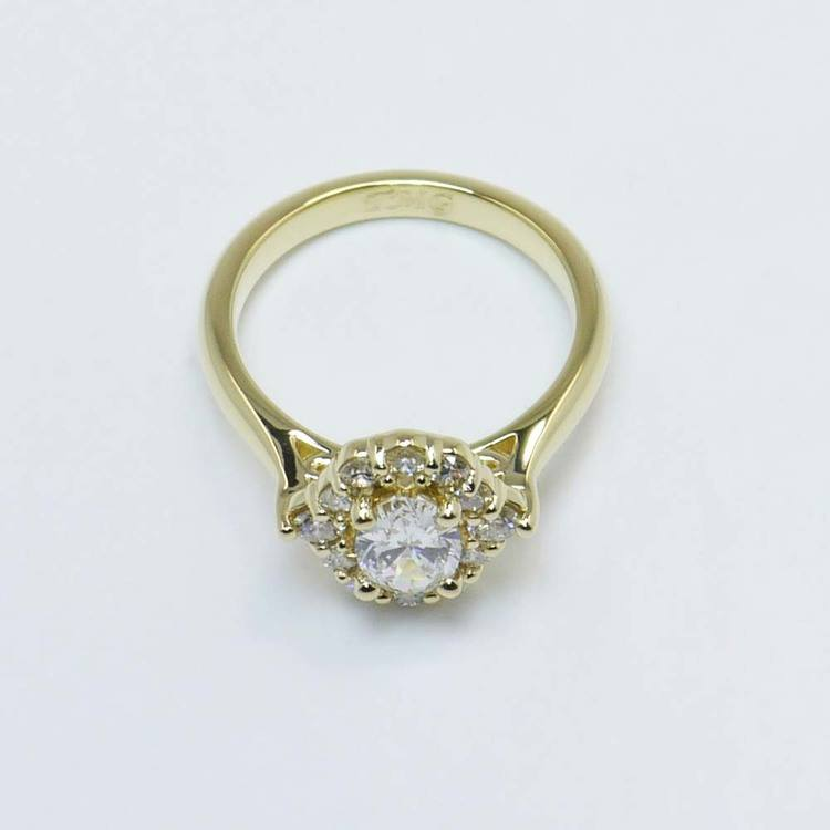 0.60 Carat Oval Custom Halo Diamond Engagement Ring angle 4