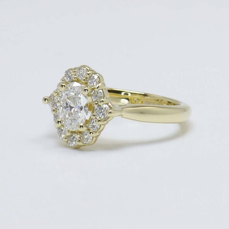 0.60 Carat Oval Custom Halo Diamond Engagement Ring angle 2