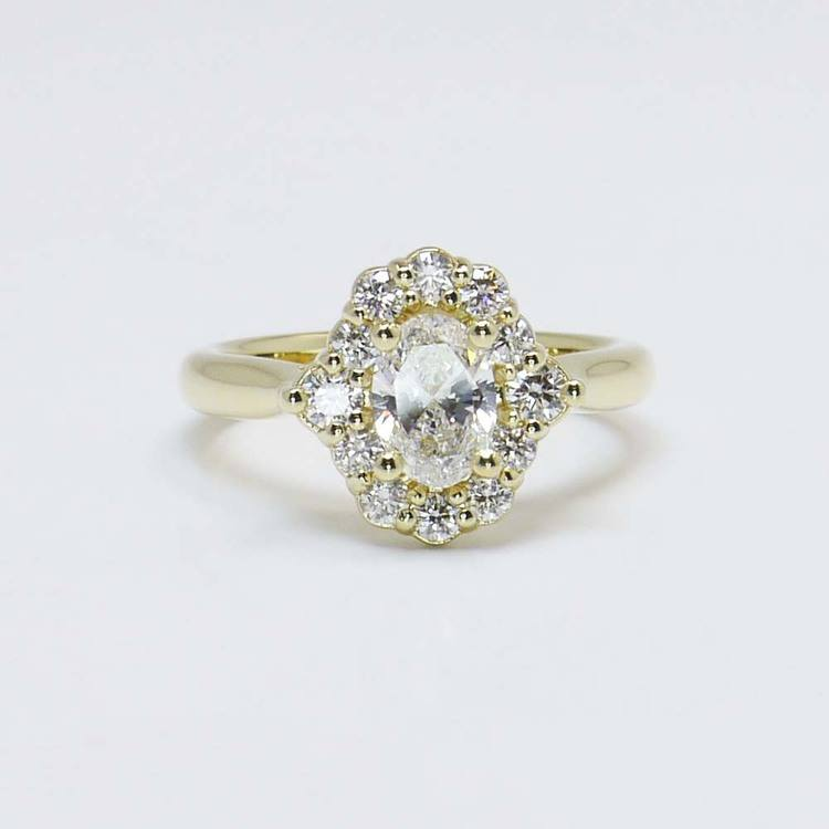 0.60 Carat Oval Custom Halo Diamond Engagement Ring