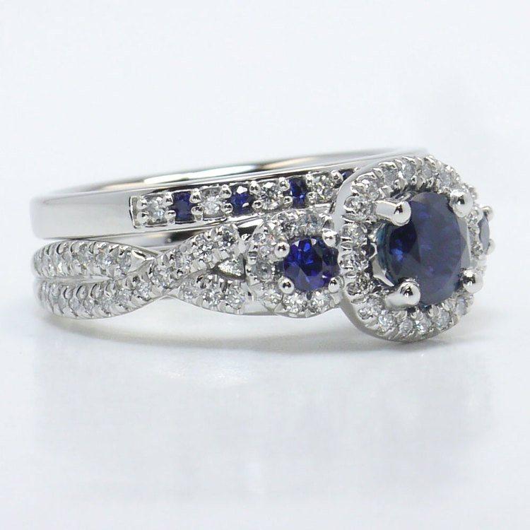 1 Carat Deep Blue Sapphire & Diamond Twisted Halo Engagement Ring angle 3