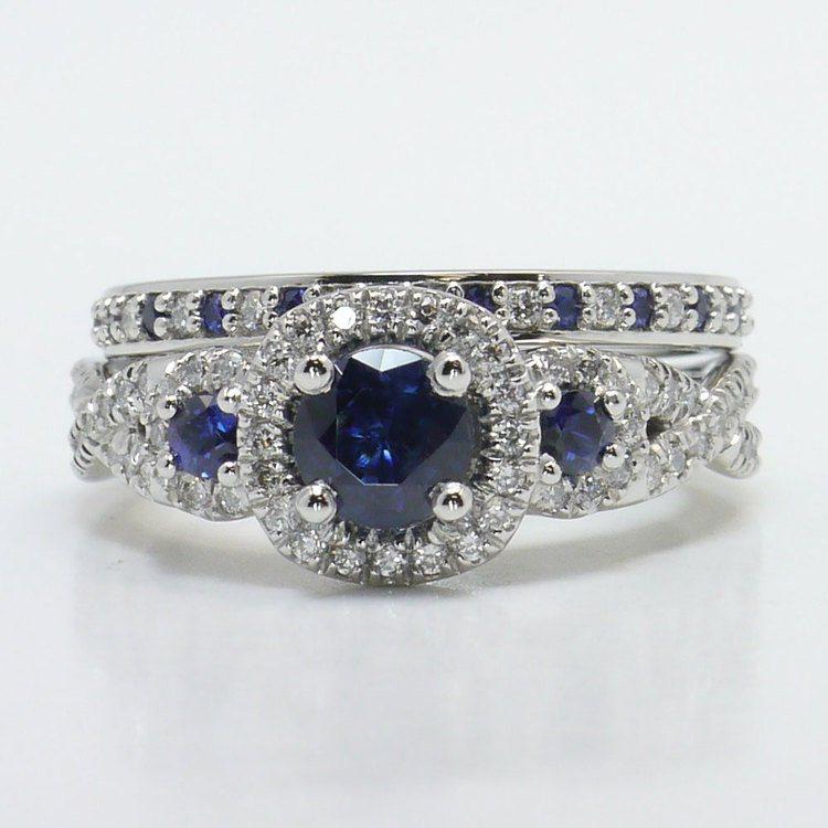 1 Carat Deep Blue Sapphire & Diamond Twisted Halo Engagement Ring