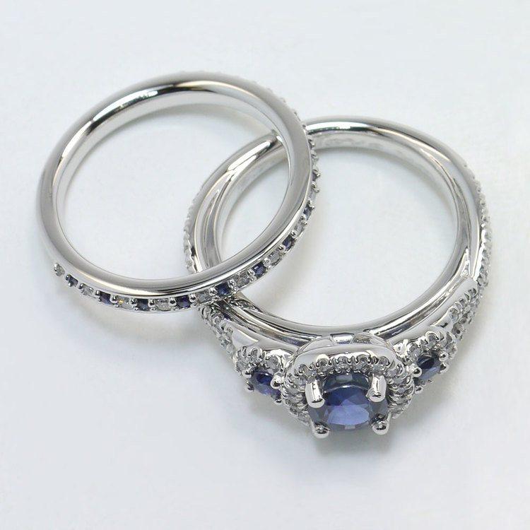 1 Carat Deep Blue Sapphire & Diamond Twisted Halo Engagement Ring angle 4