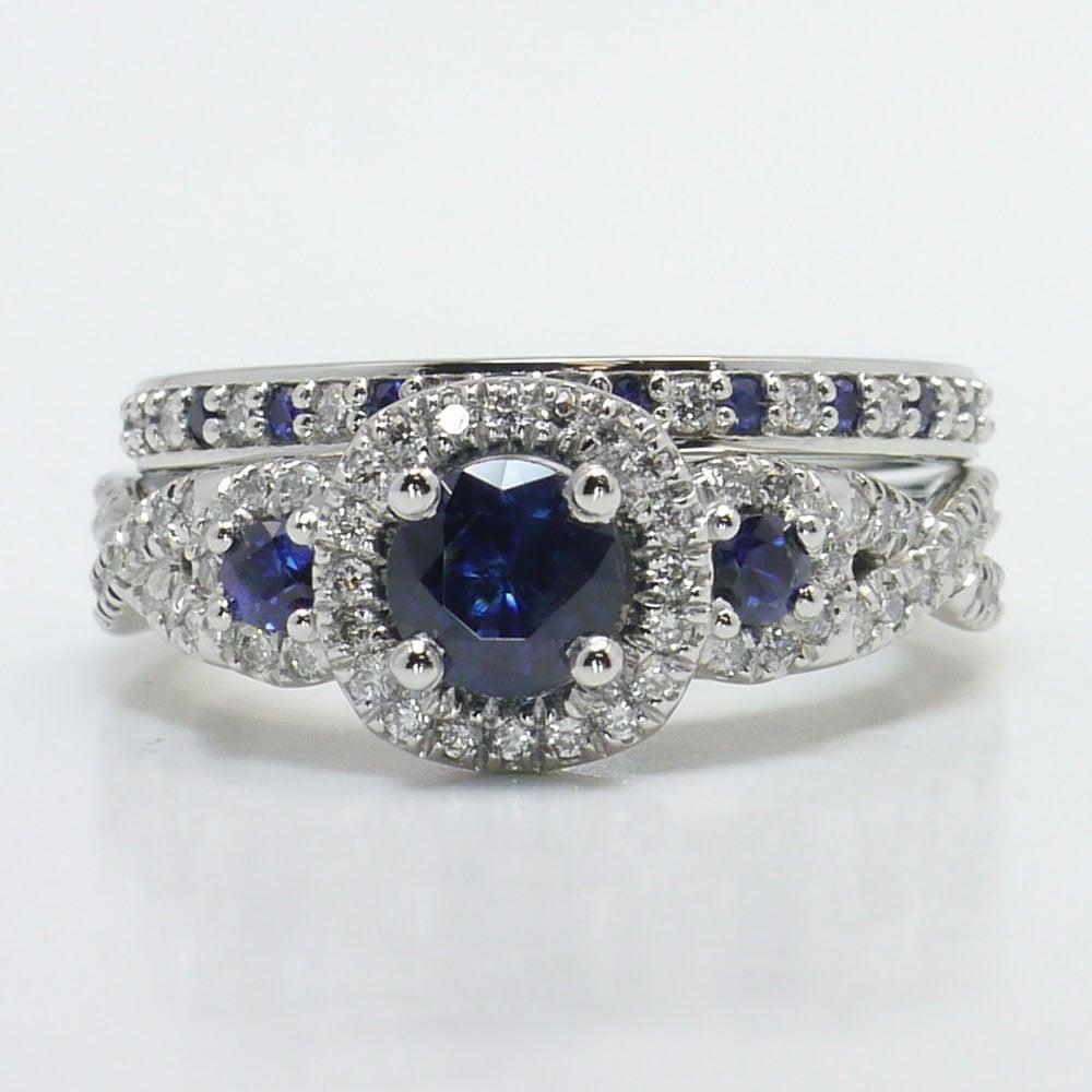 Diamond And Sapphire Gemstone Bridal Set