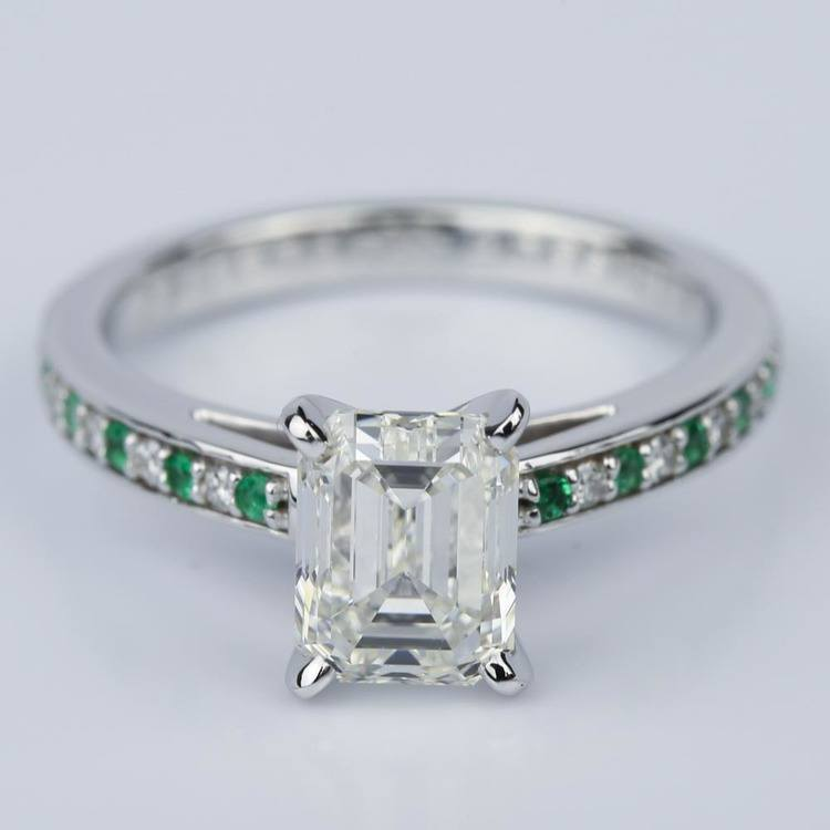 Diamond & Emerald Gemstone Cathedral Engagement Ring (2.02 ct.)
