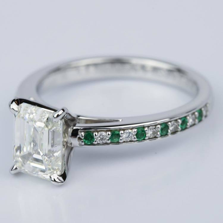 Diamond & Emerald Gemstone Cathedral Engagement Ring (2.02 ct.) angle 2