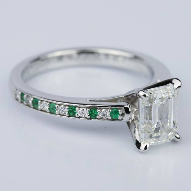 Diamond & Emerald Gemstone Cathedral Engagement Ring (2.02 ct.) angle 3
