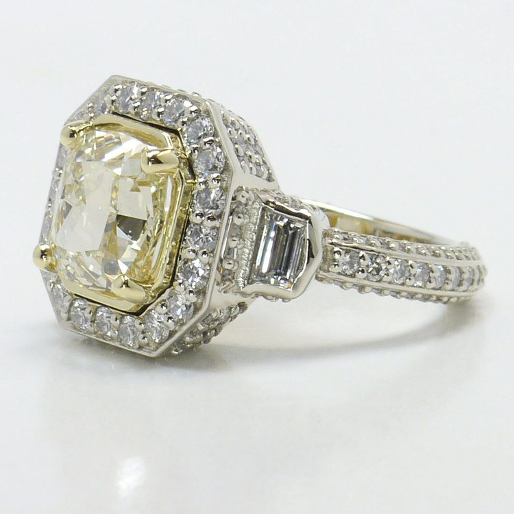 Diamond Encrusted Three Stone Halo Ring angle 2