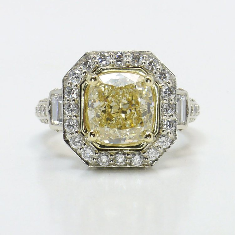 Diamond Encrusted Three Stone Halo Ring