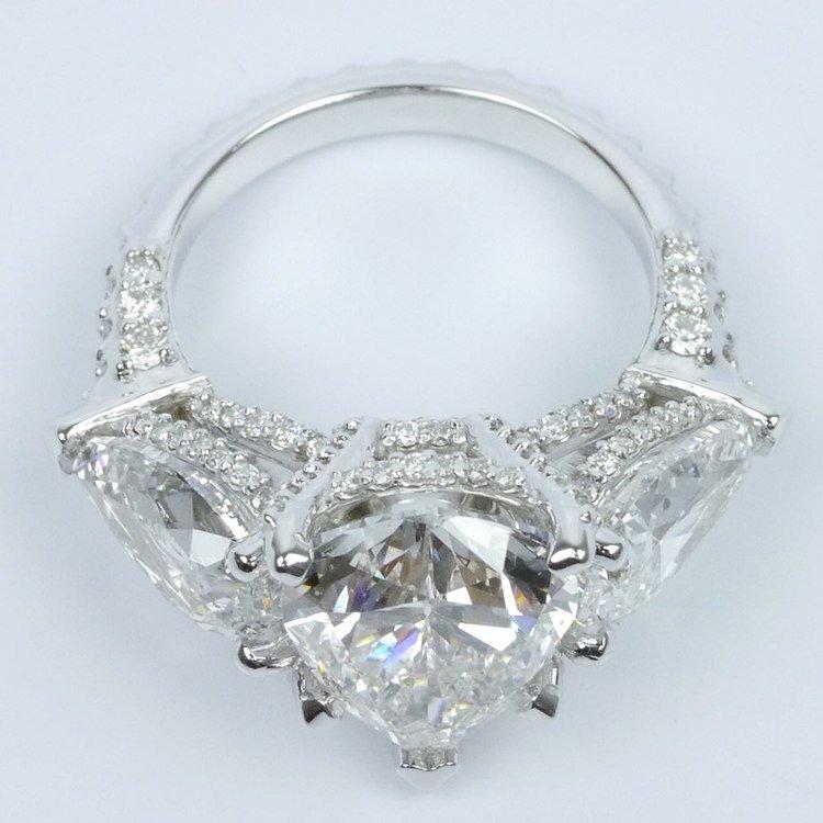 Diamond Encrusted Three Stone Ring angle 4
