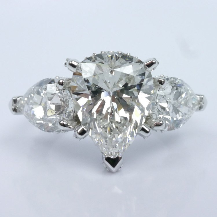 Diamond Encrusted Three Stone Ring