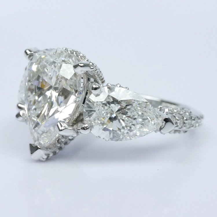 Diamond Encrusted Three Stone Ring angle 2