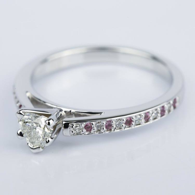 Diamond & Pink Sapphire Engagement Ring with Heart Diamond angle 2