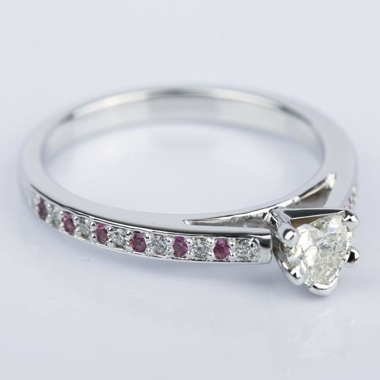 Diamond & Pink Sapphire Engagement Ring with Heart Diamond angle 3