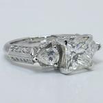 Custom 1.5 Princess & Pear Diamond Engagement Ring - small angle 3