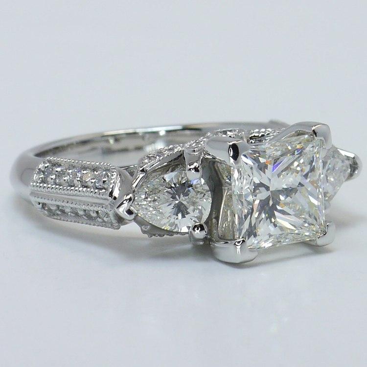 Custom 1.5 Princess & Pear Diamond Engagement Ring angle 3