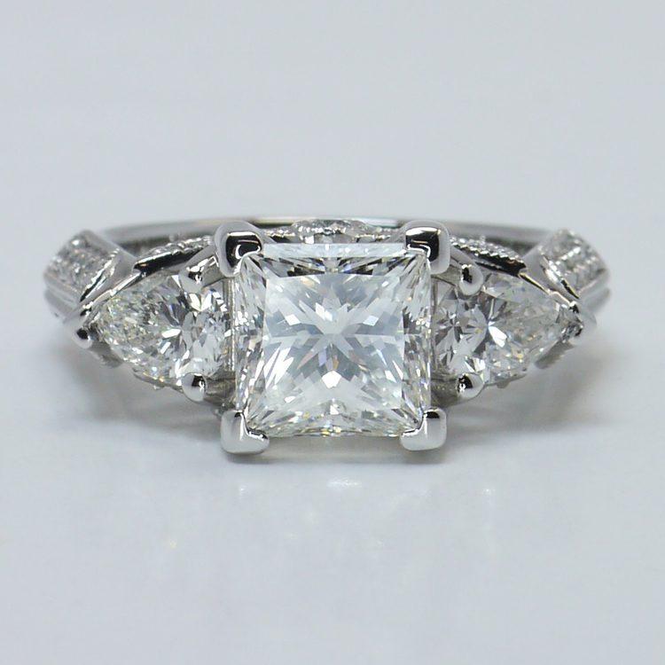 Custom 1.5 Princess & Pear Diamond Engagement Ring