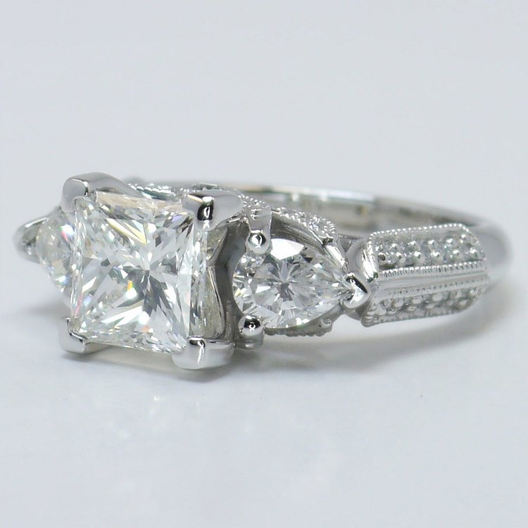 Custom 1.5 Princess & Pear Diamond Engagement Ring angle 2