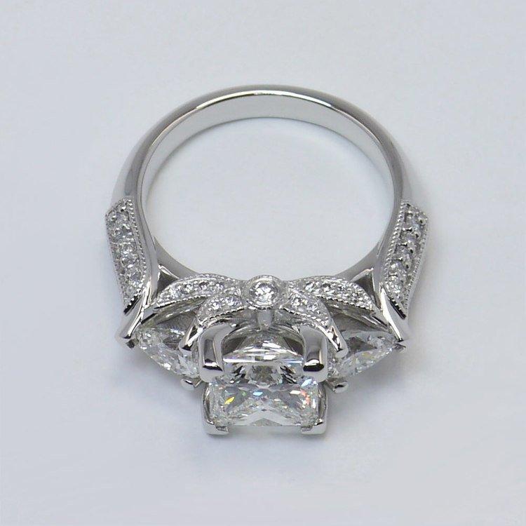 Custom 1.5 Princess & Pear Diamond Engagement Ring angle 4