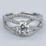 Double Cross Split Shank Diamond Engagement Ring (0.91 ct.) - small