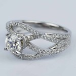 Double Cross Split Shank Diamond Engagement Ring (0.91 ct.) - small angle 2