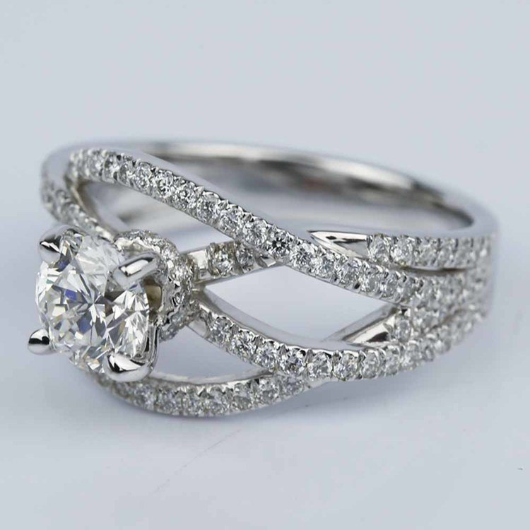 Double Cross Split Shank Diamond Engagement Ring (0.91 ct.) angle 2