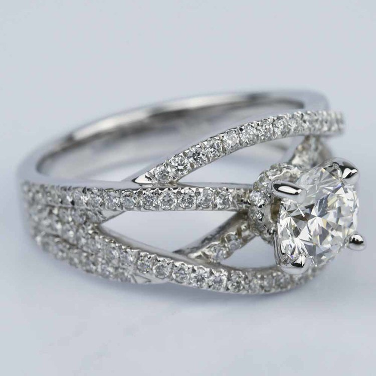 Double Cross Split Shank Diamond Engagement Ring (0.91 ct.) angle 3