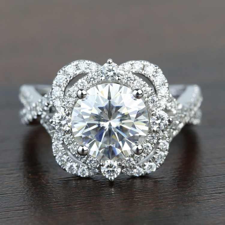 Double Diamond Halo 8mm Round Moissanite Engagement Ring