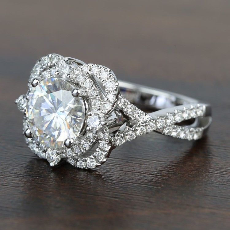 Double Diamond Halo 8mm Round Moissanite Engagement Ring angle 2