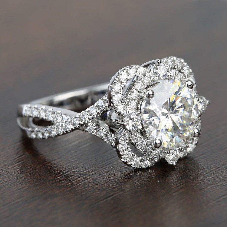 Double Diamond Halo 8mm Round Moissanite Engagement Ring angle 3
