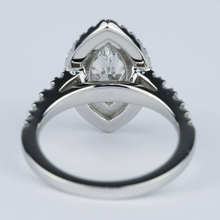 Stunning Double Halo Marquise Diamond Engagement Ring (1.21 ct.) angle 4