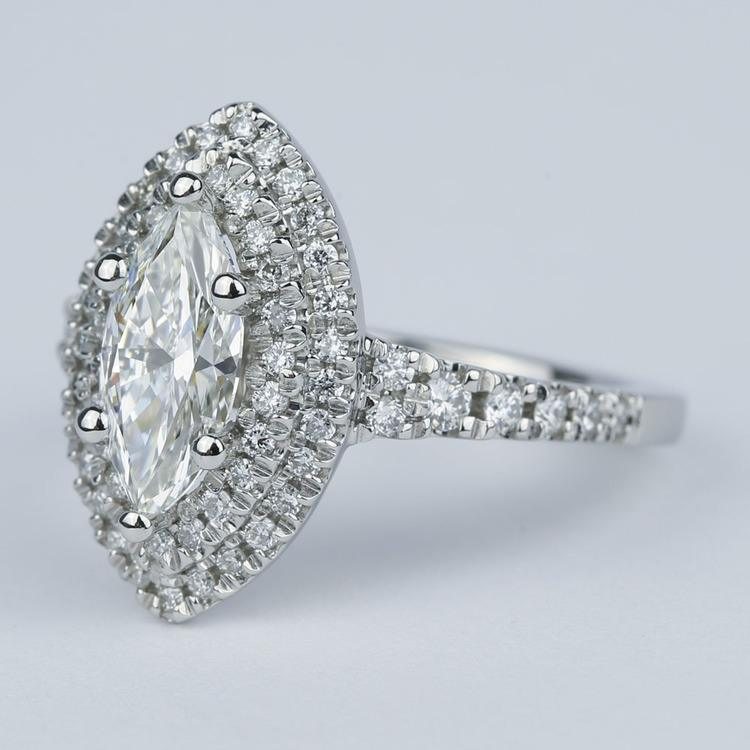 Stunning Double Halo Marquise Diamond Engagement Ring (1.21 ct.) angle 2