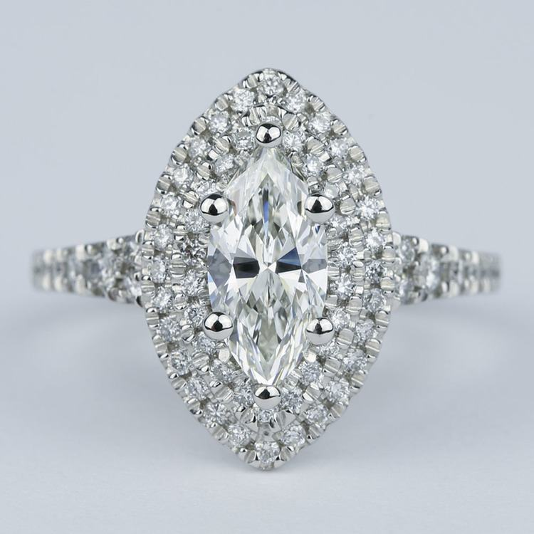 Stunning Double Halo Marquise Diamond Engagement Ring (1.21 ct.)