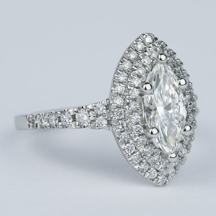 Stunning Double Halo Marquise Diamond Engagement Ring (1.21 ct.) angle 3