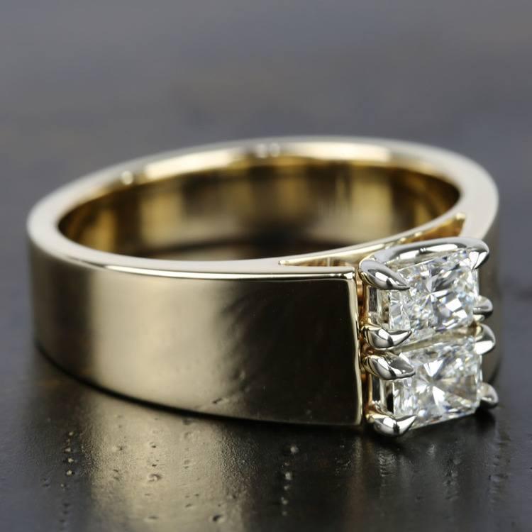 Twin Radiant Diamond Men's Engagement Ring angle 3
