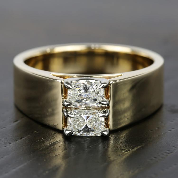 Twin Radiant Diamond Men's Engagement Ring