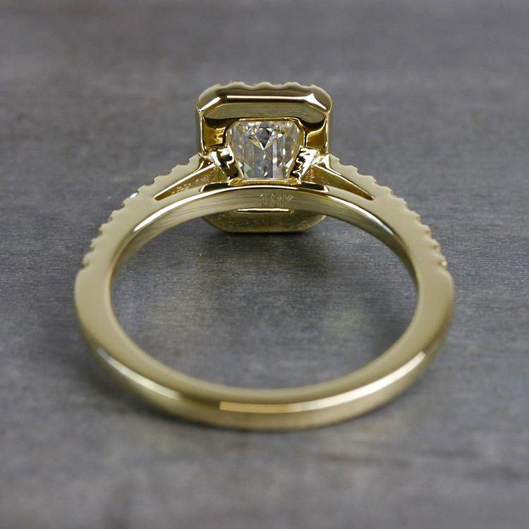 Elegant Engagement Emerald Cut Diamond Halo Ring angle 4