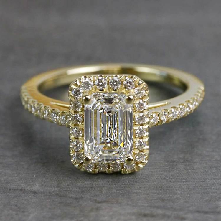 Elegant Engagement Emerald Cut Diamond Halo Ring