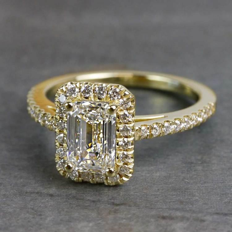 Elegant Engagement Emerald Cut Diamond Halo Ring angle 2