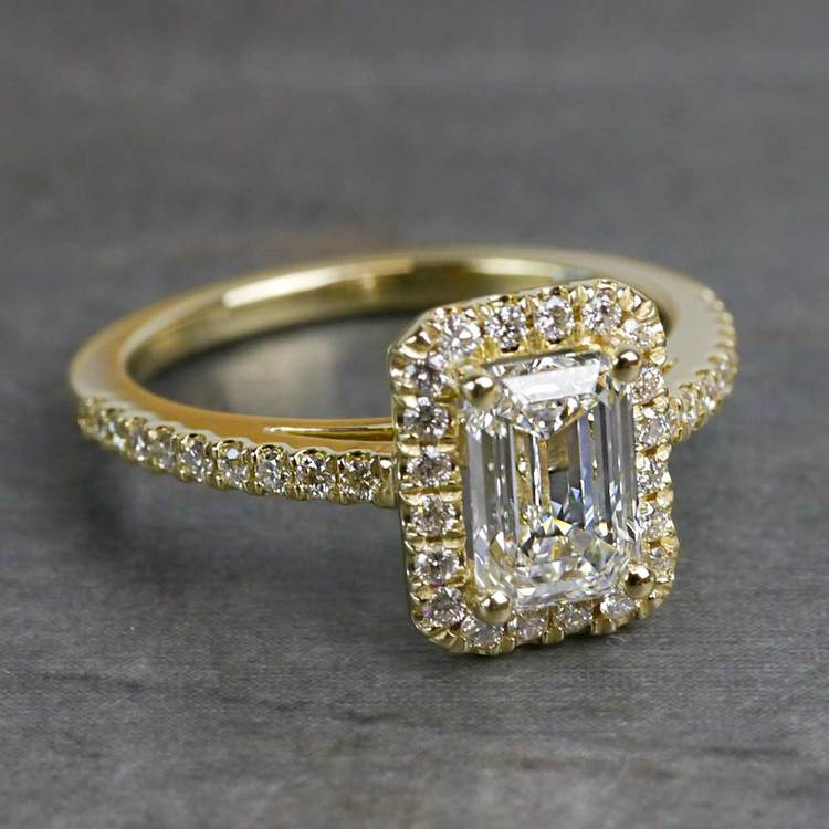 Elegant Engagement Emerald Cut Diamond Halo Ring angle 3