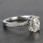 Elegant Shared-Prong Oval Cut Loose Diamond Engagement Ring - small angle 3