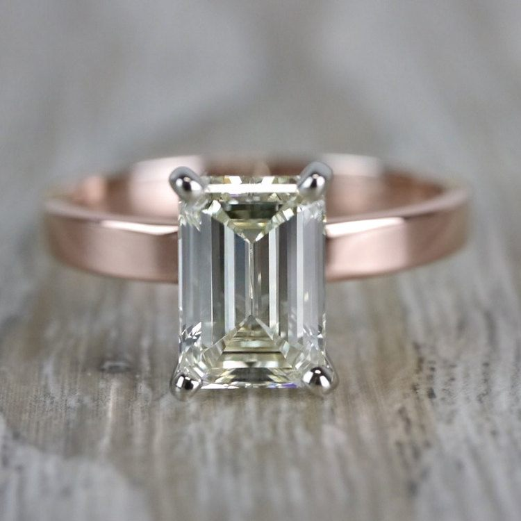 Emerald Cut Diamond Flat Solitaire Engagement Ring in Rose Gold