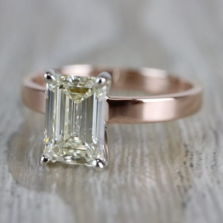 Emerald Cut Diamond Flat Solitaire Engagement Ring in Rose Gold angle 2