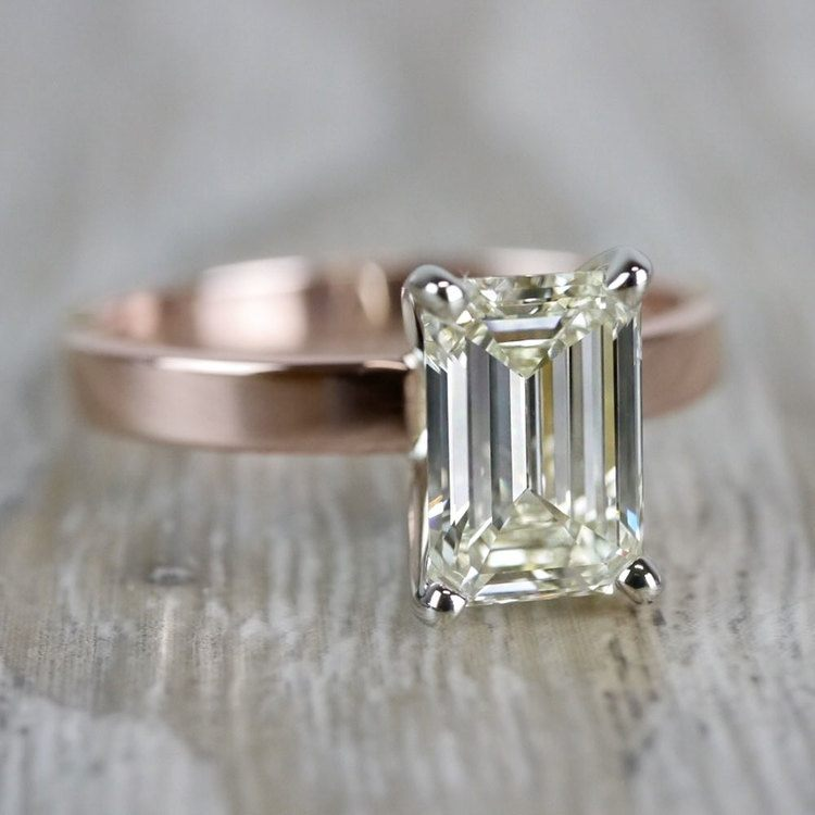 Emerald Cut Diamond Flat Solitaire Engagement Ring in Rose Gold angle 3
