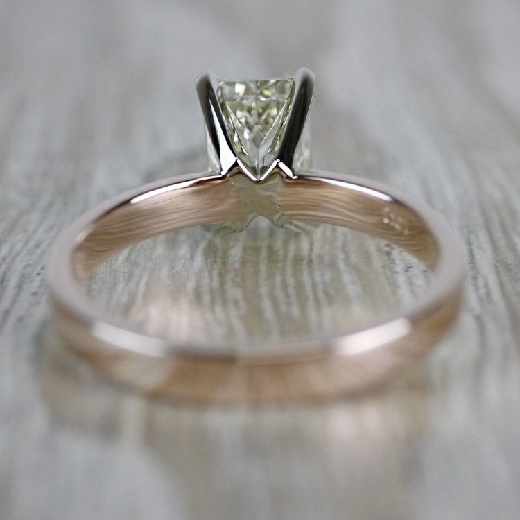 Emerald Cut Diamond Flat Solitaire Engagement Ring in Rose Gold angle 4