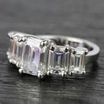 Custom Emerald Moissanite Five-Stone Engagement Ring - small angle 2