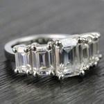 Custom Emerald Moissanite Five-Stone Engagement Ring - small angle 3