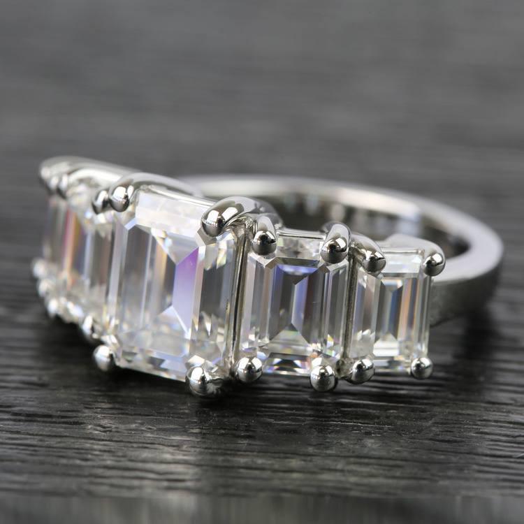 Custom Emerald Moissanite Five-Stone Engagement Ring angle 2