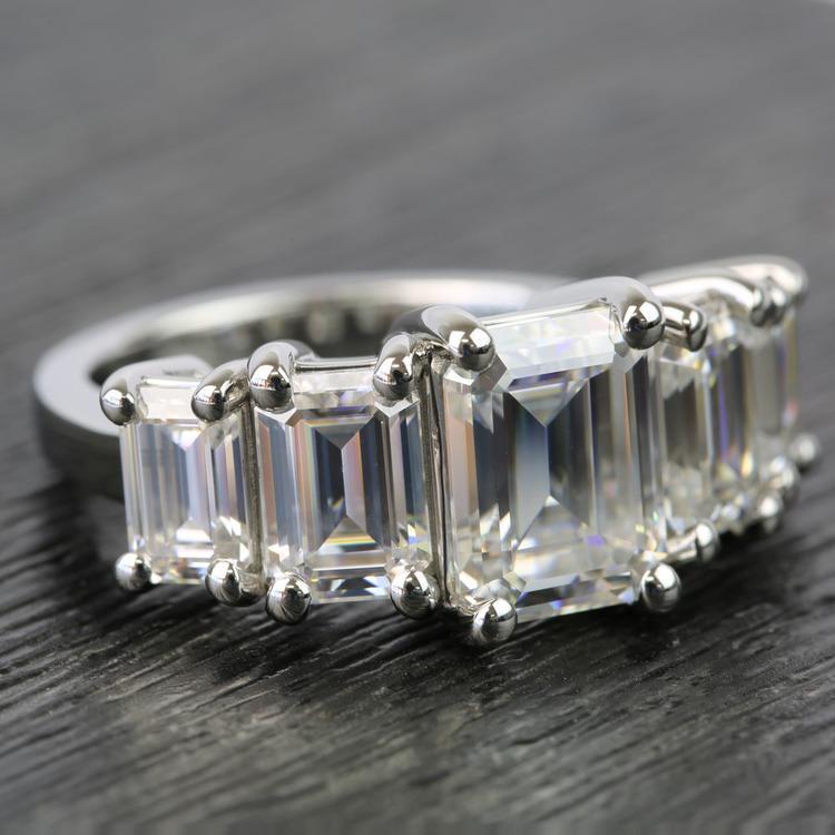 Custom Emerald Moissanite Five-Stone Engagement Ring angle 3